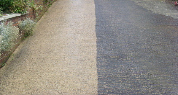 Concrete Driveway Before and After Pressure Washing
