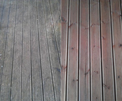 Decking before and after pressure washing