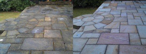 Sandstone Patio Before and After Pressure Washing