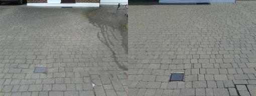 Block paved driveway before and after cleaning