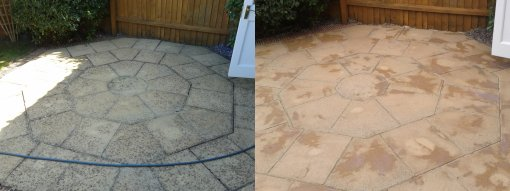 Patio slabs before and after pressure washing